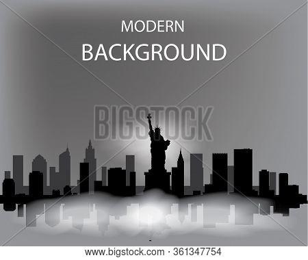 Modern Vector Landscape Of Foggy New York. Dark Silhouette Of Buildings In A Foggy Haze.