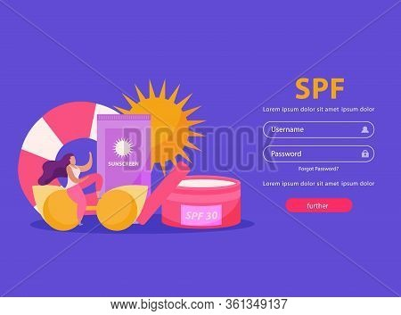 Sunscreen Care Flat Background With Images Of Protective Creams And Fields For Entering Username And
