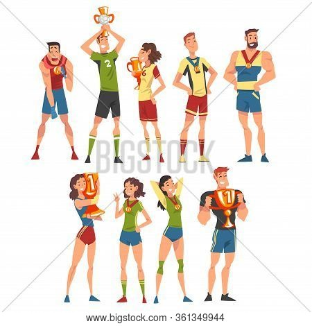 Athletes Of Various Sports Disciplines Celebrating Victory Collection, Happy Sportspersons Posing Wi