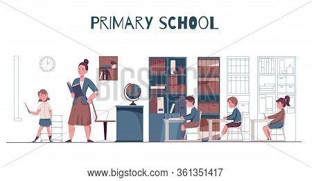 Primary Junior School Lesson Classroom Interior Teacher With Textbook Pupils At Desks Flat Horizonta