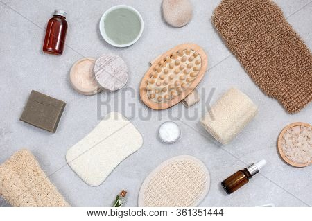 Set Of Eco-friendly Sponges For Body Care And Natural Cosmetic At Light Stone Table. Zero Waste Conc