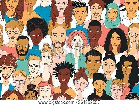 Decorative Diverse Womens Mens Head Seamless Pattern Background. Multiethnic Gruop
