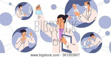 Chemical Laboratory Research. Vaccine Discovery Concept. Scientists With Flasks, Microscope And Comp