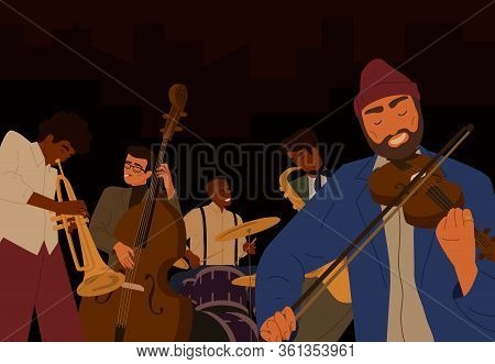 Team Of Hipster Male Jazz Band Playing At Musical Instrument Isolated On Black Background. People Pl