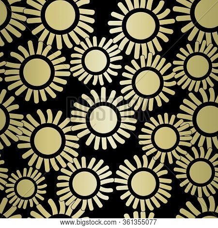 Vector Flowers In Yellow Gold Ombre Scattered On Black Background Seamless Repeat Pattern. Backgroun