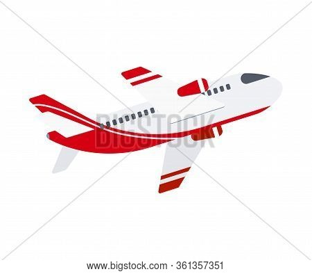 Airplane Flat Design Icon Isolated On White Background. Cartoon Style Travel Vacation Sign Of Modern