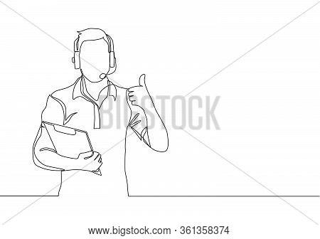 Single Line Drawing Of Young Happy Field Project Manager Wearing Headset And Carrying Clipboard Whil