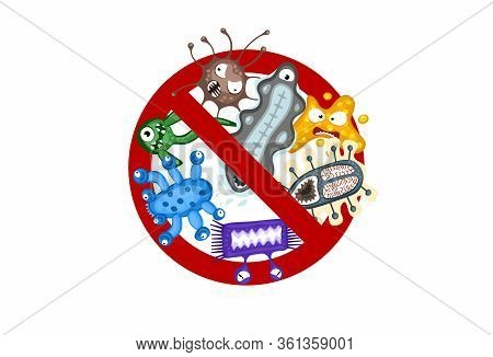 Stop Spread Virus Sign. Cartoon Germ Characters Isolated Vector Eps Illustration On White Background