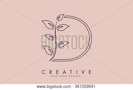 Outline Leaf Letter D Logo Design With Leaves On A Branch And Pink Background. Letter D With Nature