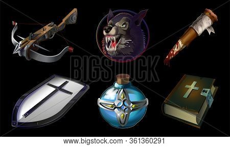 Set Collection Game Icons Items With Otherworldly And Christians Objects. Werewolf, Wooden Stick, Ho