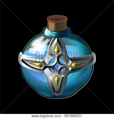 Old Bottle With Metal Cross And Diamonds, Magical Holy Water In Glass Or Liquid Poison Drink Of Alch