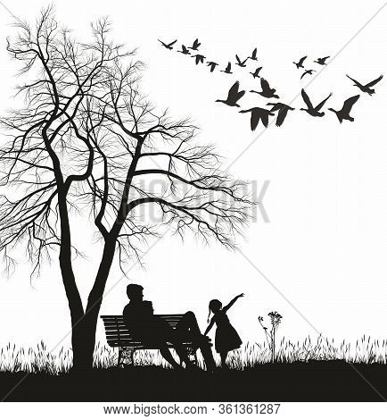 Vector Illustration Of A Young Family In The Park, Trees, Acacia And Flying Wild Geese