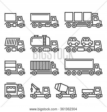 Commercial Van And Truck Icons Set On White Background. Line Style Vector
