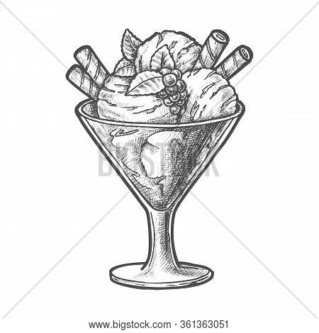 Sketch Ice Cream Scoops And Berry, Sundae Dessert