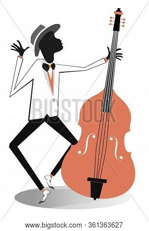 Afro-american Cellist Illustration. Afro-american Musician Is Playing Cello With Inspiration Isolate