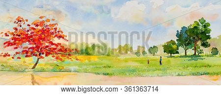 Watercolor Landscape Painting Panorama Colorful Of Natural Beauty Red Flowers Tree And Mountain Fore