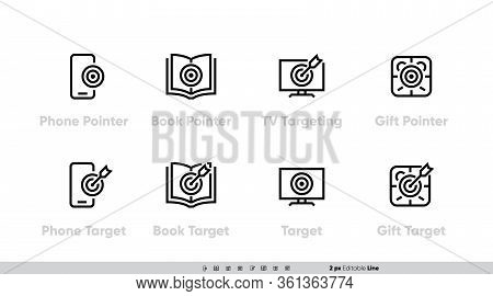 Device Smm Target On Phone Icon Set. Pointer, Book, Tv, Media And Gift Aim. Vector Editable Line Str