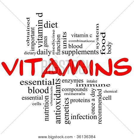 Vitamins Word Cloud Concept In Red & Black