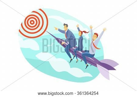 Team, Goal, Motivation, Startup, Leadership, Business Concept. Team Of Young Business People Clerks