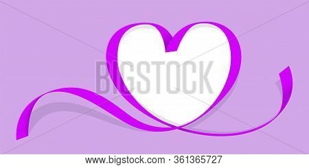 Ribbon Purple Heart Shape Isolated On Purple, Copy Space, Ribbon Line Purple Heart-shaped, Heart Sha