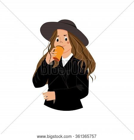 Fashion Girl With A Cup Of Coffee. Stylish Woman In A Wide-brimmed Hat And Jacket.