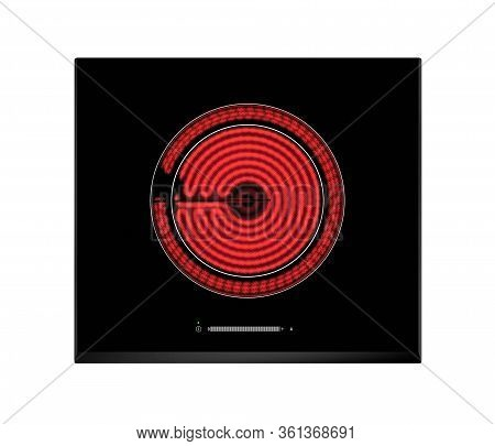 Red Hot Ceramic Hotplate Of Electric Cooker Isolated On White Background