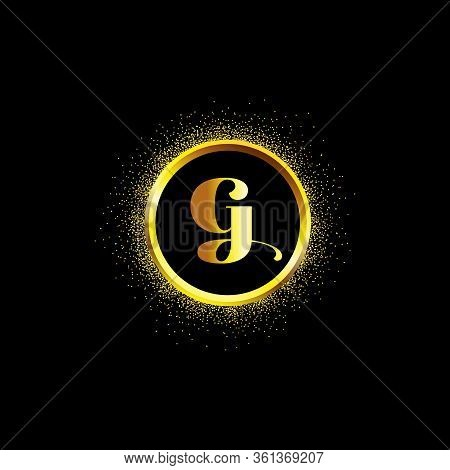 G Letter Golden Icon In Middle Of Golden Sparking Ring. G Logo Sign With Empty Center. Golden Sparkl