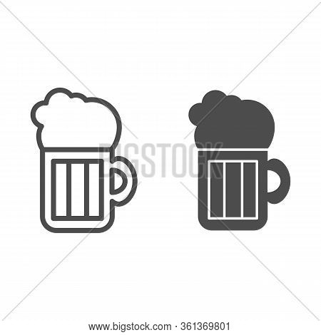 Beer Line And Solid Icon. Beer Mug Illustration Isolated On White. Alcohol Pint Glass With Froth Out