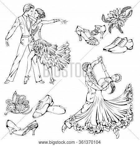 Vector Illustration Of Young Couple Dancing Classic And Latin Ballroom Dance Isolated On White Backg