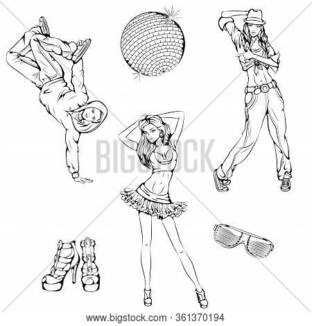 Vector Illustration Of Girls And Boy Dancing Street, Modern Dance Isolated On White Background. Danc