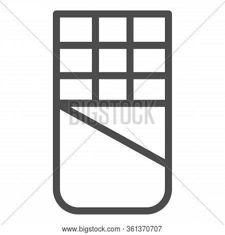 Chocolate Line Icon. Open Chocolate Bar Illustration Isolated On White. Opened Chocolate Block Outli
