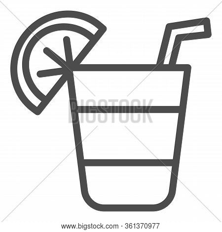 Cocktail Line Icon. Cocktail Glass With Lemon Slice Illustration Isolated On White. Alcohol Cocktail