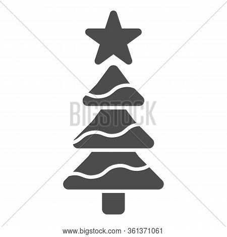 Tree With A Star Solid Icon. Decorated Conifer Firtree Glyph Style Pictogram On White Background. Ch