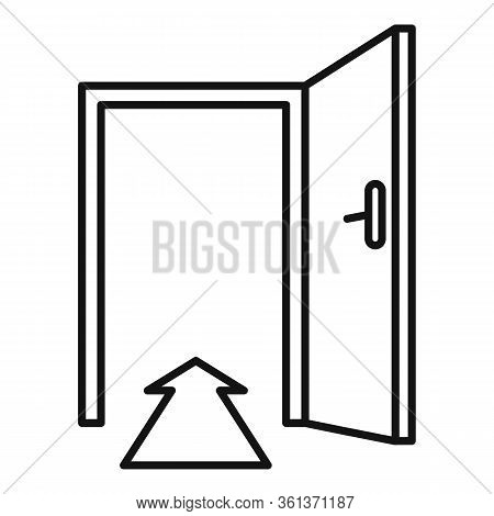 Direction Indoor Entrance Icon. Outline Direction Indoor Entrance Vector Icon For Web Design Isolate