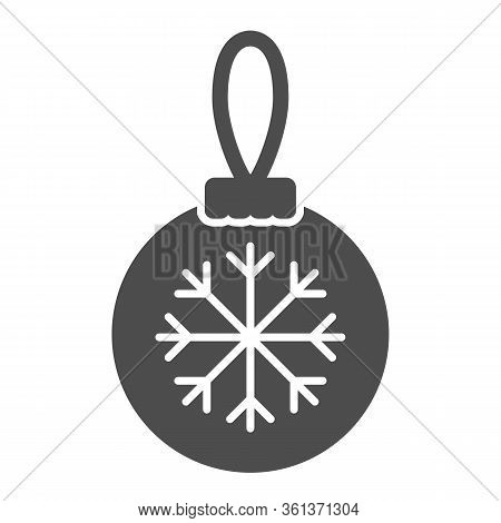 Glass Tree Toy With Snowflake Solid Icon. Christmas Ball With Snowflake Glyph Style Pictogram On Whi