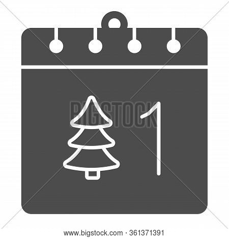 Calendar With Tree Solid Icon. Date Page With Firtree And 1st Of January Day Glyph Style Pictogram O