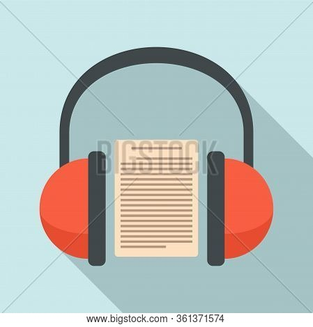 Headphones Audio Lesson Icon. Flat Illustration Of Headphones Audio Lesson Vector Icon For Web Desig