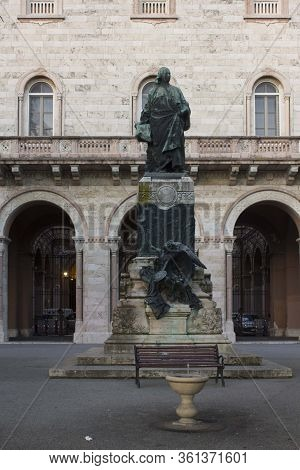Perugia, Italy - December 9 2016: Pietro Vannucci (il Perugino) Statue In Perugia City Centre