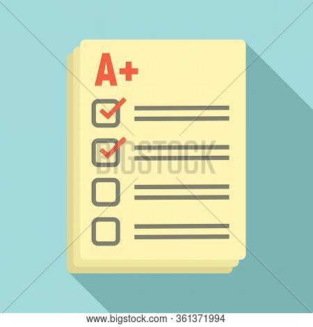 Lesson Paper Test Icon. Flat Illustration Of Lesson Paper Test Vector Icon For Web Design