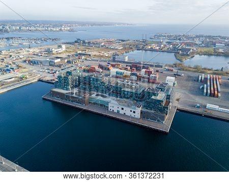 Copenhagen, Denmark - April 07, 2020: Aerial Drone View Of Copenhagen International School In Nordha