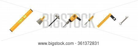 Collection Of Working Tools. Repair And Construction Tools Icon Set. Collection Of Equipment For Rep