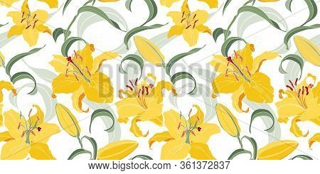 Floral Seamless Pattern With Asian Yellow Lilies