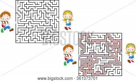 Cute Mouse S Maze Game Help Mouse To Find His Cheese Maze Puzzle With Solution.