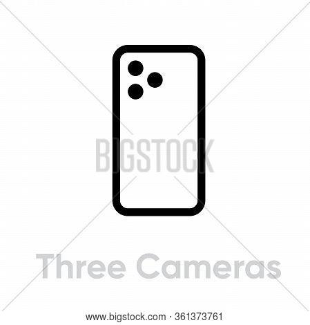 Three Cameras Phone Icon. Editable Line Vector.