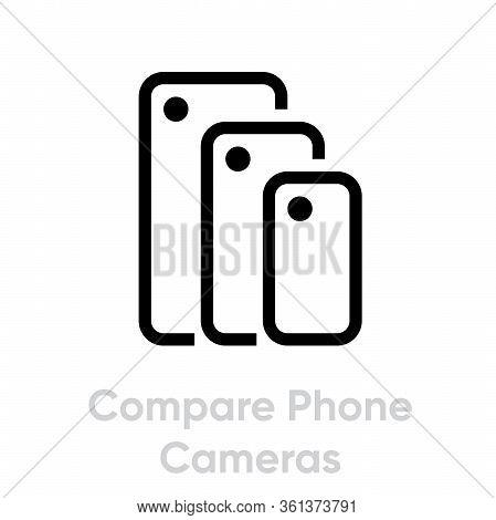 Compare Phone Cameras Icon. Editable Line Vector.