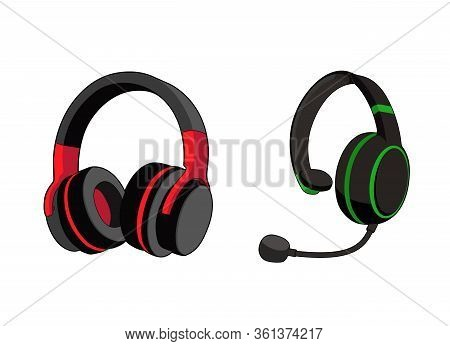 Headphones Stereo. Customer Service Or Gamer Headset. Headphone With Microphone. Vector Graphic Illu
