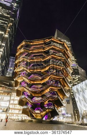 New York, Ny, Usa - March 10, 2020: The Vessel - The New Attraction At The Modernized District Hudso