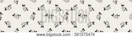 Cute Cartoon Japanese Bobtail Kitten Seamless Border Pattern. Pedigree Kitty Breed Domestic Kitty Ba