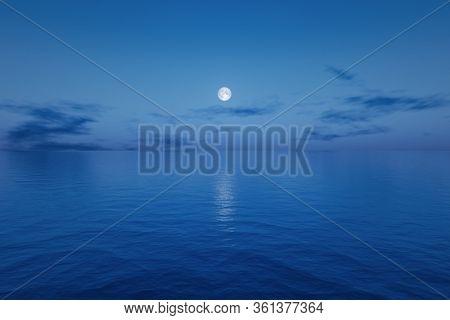 An ocean night with full moon sky 3D illustration