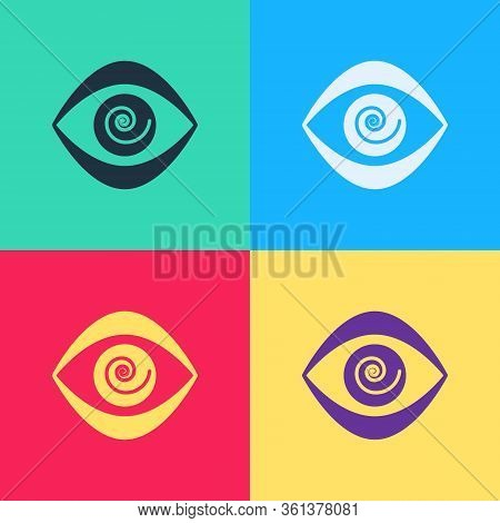 Pop Art Hypnosis Icon Isolated On Color Background. Human Eye With Spiral Hypnotic Iris. Vector Illu